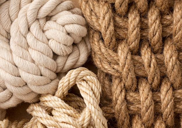 Platliggend touw textuur samenstelling close-up