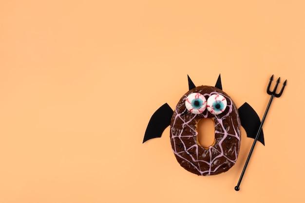Platliggende creatieve halloween-compositie