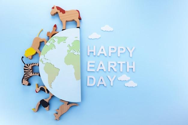 Platte banner met groene aardedag. groene ecologie concept. bewaar het concept van de aarde planeet wereld.
