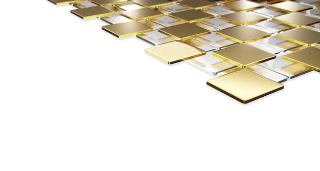 Platte rechthoekige gouden plaat en gouden booghoeken gestapeld in lagen op een witte glanzende achtergrond