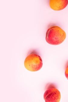 Platte samenstelling zoete sappige perziken op roze achtergrond. vers zomerfruit.