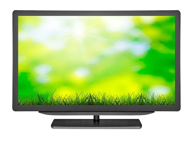 Platte televisie op de blanken