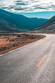 Plattelandsweg die door het groene bos en de berg gaat