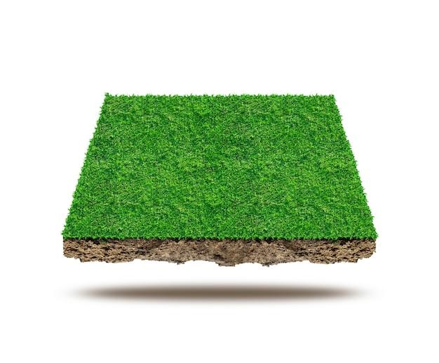 Plein van groen grasveld op witte achtergrond, sportveld.
