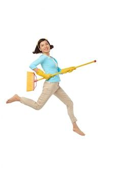 Plezier tijdens huishoudelijk werk