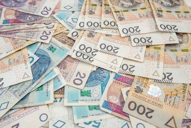Pln pools geld als achtergrond voor ontwerp. financieel concept