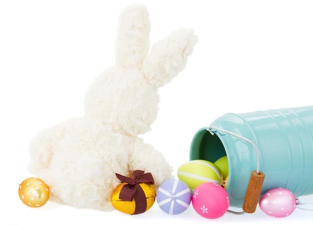 Pluizig konijntje met paaseieren die op wit worden geïsoleerd