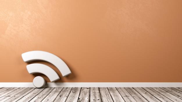 Podcast-symbool op houten vloer tegen muur