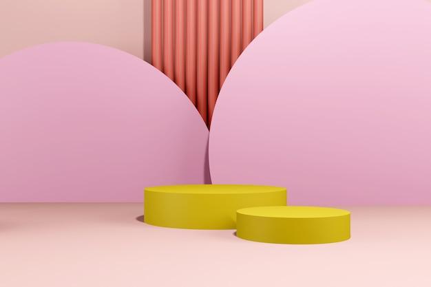 Podium abstracte achtergrond. geometrische vorm. roze pastelkleuren scène. minimale 3d-weergave. scène met geometrische achtergrond. 3d render