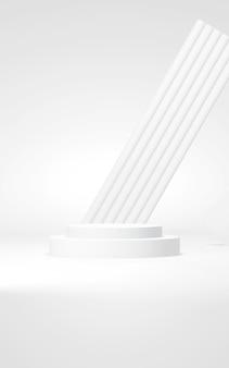 Podium abstracte achtergrond geometrische vormverticale witte kleuren scène minimale 3d-rendering