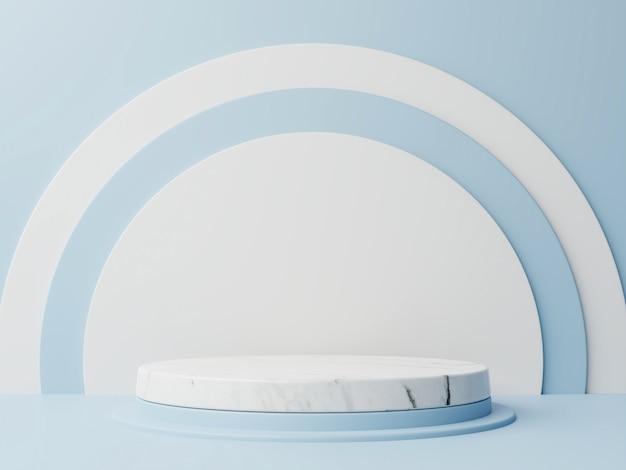 Podium abstracte compositie met blauwe achtergrond.