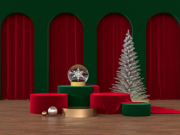 Podium achtergrond met kerst concept Premium Foto