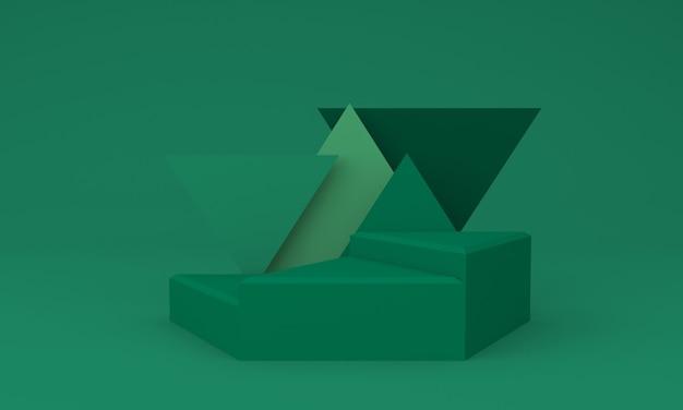 Podium design 3d illustratie design groen driehoekig