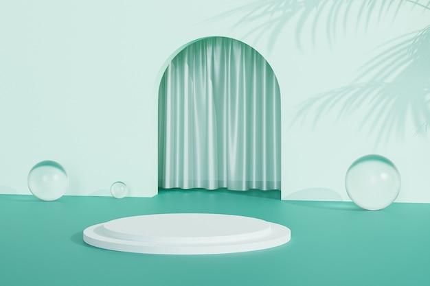 Podium dichtbij groene munt lege ingang met gordijnen en tropische bladschaduwen