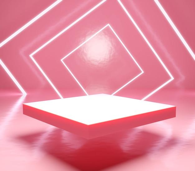 Podium display met lichte stokkleur is pastel concept voor het plaatsen van producten of cosmetica.