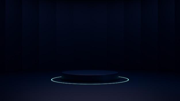 Podium donker en neonlicht, 3d render