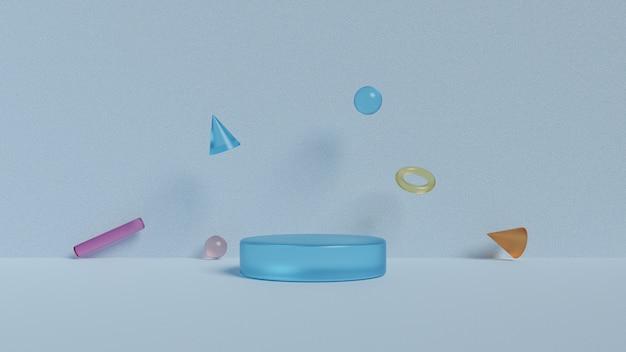Podium en geometrische vormen. 3d-rendering