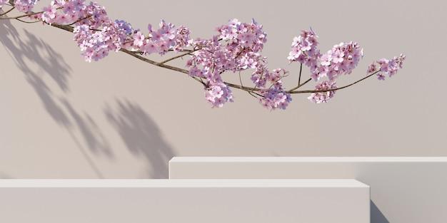 Podium en kersenbloesem met lichte natuur witte achtergrond voor productpresentatie 3d-rendering