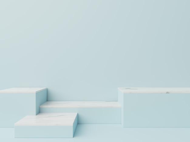 Podium in samenvatting voor het plaatsen van producten en voor het plaatsen van prijzen met een blauwe achtergrond, het 3d teruggeven
