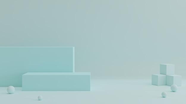Podium met een mooie blauwe doek
