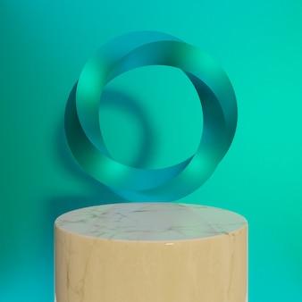 Podium met geometrische vormen, gedraaide torus en podium op de vloer. platforms voor productpresentatieachtergrond. abstracte compositie in minimaal ontwerp