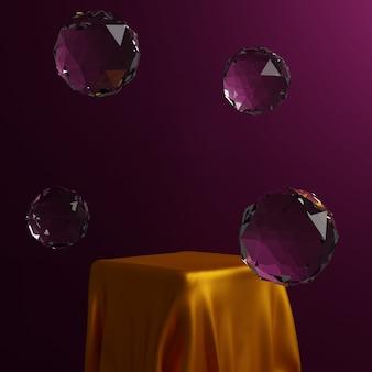 Podium met geometrische vormen, stof en podium op de studio met bubbels. platforms voor productpresentatieachtergrond. abstracte compositie in minimaal ontwerp