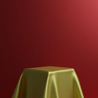 Podium met geometrische vormen, stof en podium op de studio. platforms voor productpresentatieachtergrond. abstracte compositie in minimaal ontwerp