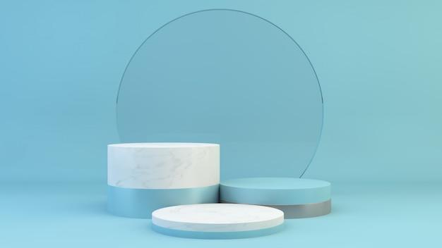 Podium met glazen cirkel achtergrond