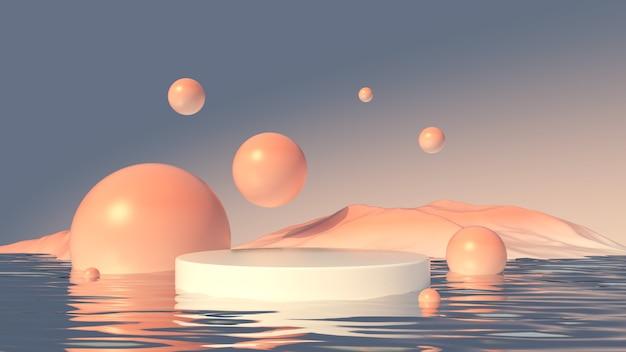 Podium met het glas en de bergen productontwerp 3d render illustratie
