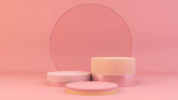 Podium met roze glazen cirkel