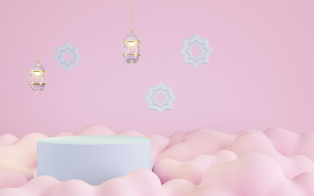 Podium met roze wolk achtergrond, islamitische decoratie, 3d illustratie