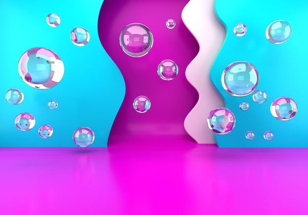 Podium met zeepbellen, lege scène