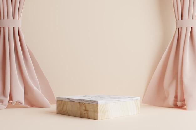 Podium met zijgordijnen en crèmekleurige wand