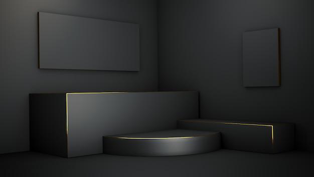 Podium met zwarte geometrische vormen