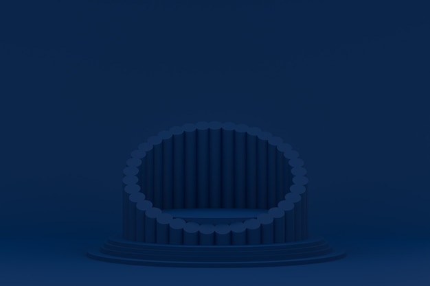 Podium minimaal op blauwe achtergrond voor cosmetische productpresentatie