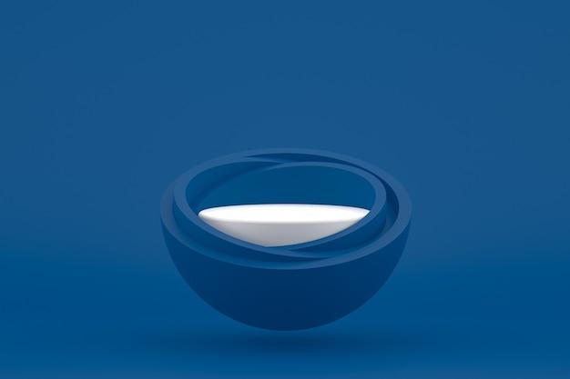 Podium minimaal op donkerblauw voor cosmetische productpresentatie