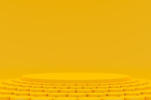 Podium minimaal op geel voor de presentatie van cosmetische producten