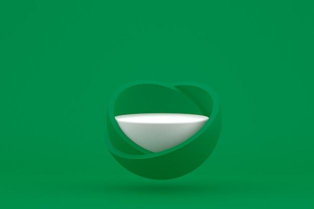 Podium minimaal op groen voor cosmetische productpresentatie