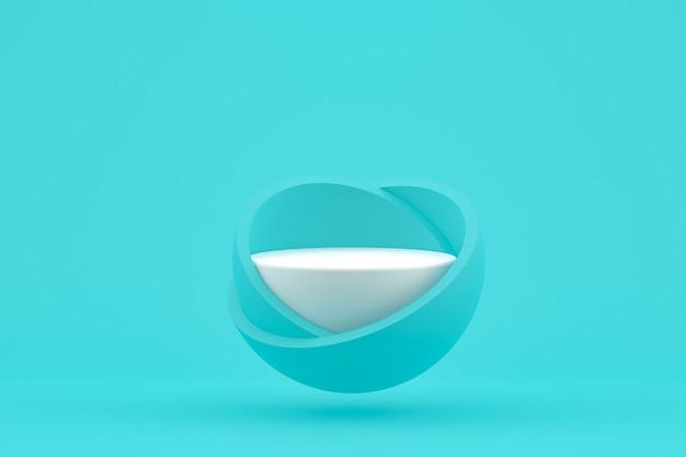 Podium minimaal op groenblauw voor cosmetische productpresentatie