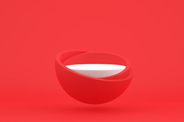 Podium minimaal op rood voor de presentatie van cosmetische producten