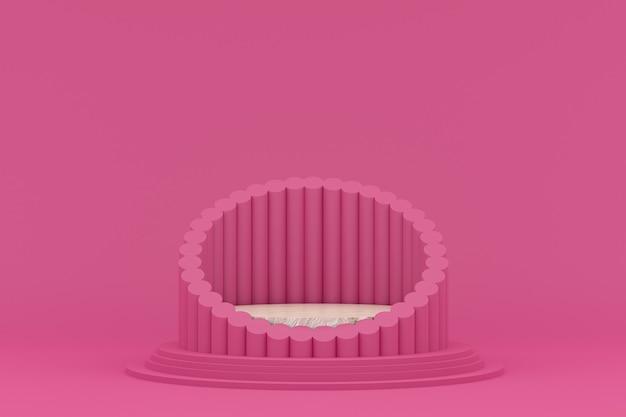 Podium minimaal op roze achtergrond voor cosmetische productpresentatie