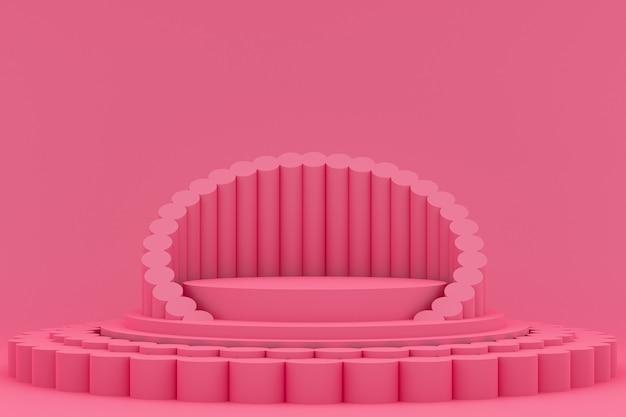 Podium minimaal op roze voor presentatie van cosmetische producten