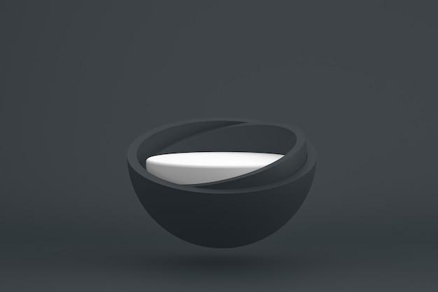 Podium minimaal op zwart voor cosmetische productpresentatie