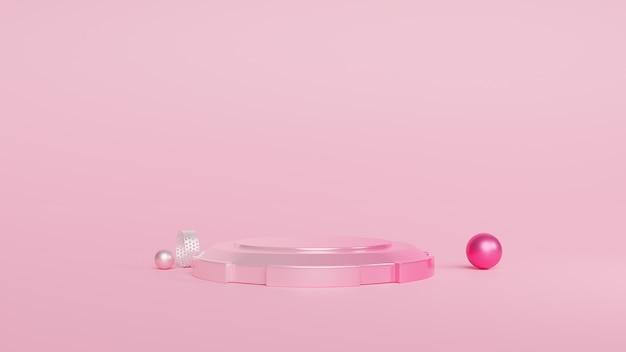 Podium minimale roze en geometrische vormen. 3d-rendering