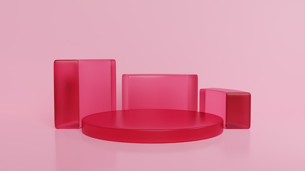Podium minimale roze muurscène