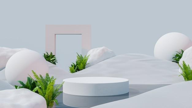 Podium mockup-display op woestijn met voor productpresentatie, 3d-rendering