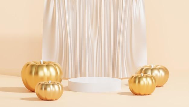Podium of voetstuk met gouden pompoenen voor weergave van producten of reclame voor herfstvakantie, 3d render