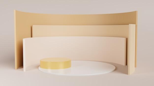 Podium op de vloer, studio met geometrische vormen, 3d weergegeven