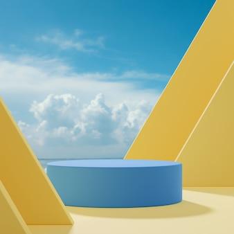 Podium podium staan abstracte vormen op een gele achtergrond, blauwe lucht en wolken