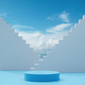 Podium podium staan op een blauw witte achtergrond met blauwe lucht en wolken op een zonnige dag abstracte achtergrond 3d render